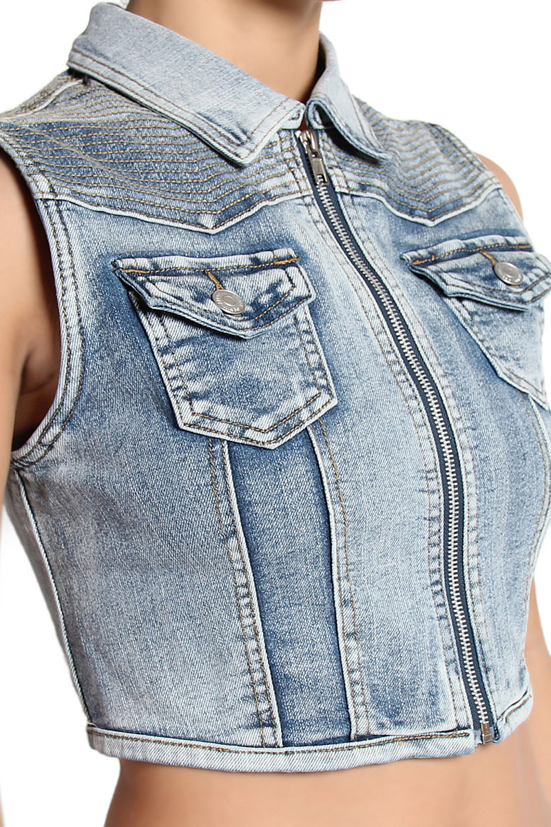 CROPPED SLEEVELESS DENIM VEST