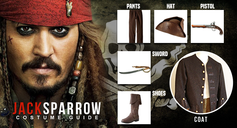 Captain Jack Sparrow Costume From Pirates Of The Caribbean