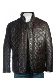 Men's Quilted Brown Leather Jacket