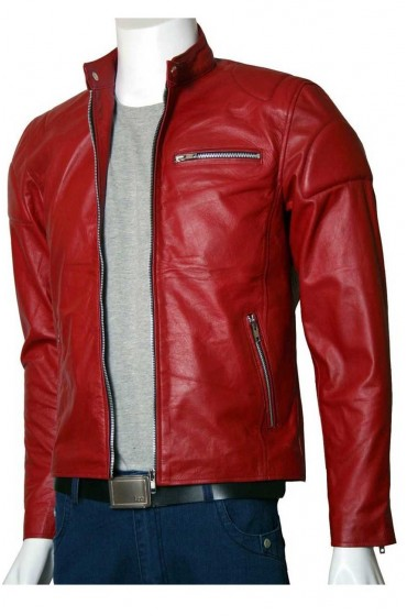 Men's Designer Elegant Red Leather Biker Jacket