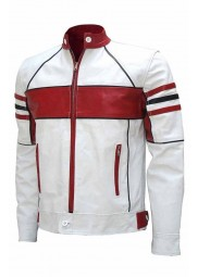 Men's Biker Leather Red Striped Design Slim Fit White Jacket