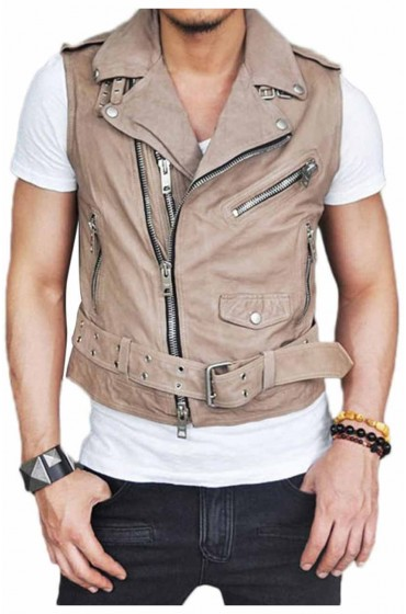 Style Men's Belted Black Leather Vest