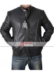 Asymmetrical Style Ian Somerhalder Black Leather Jacket