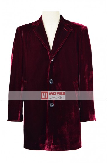 DR Who TV Series 12th Doctor Maroon Velvet Coat