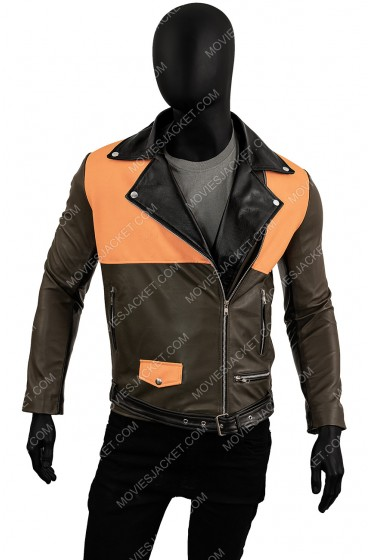 Mens Orange Moto Leather Jacket