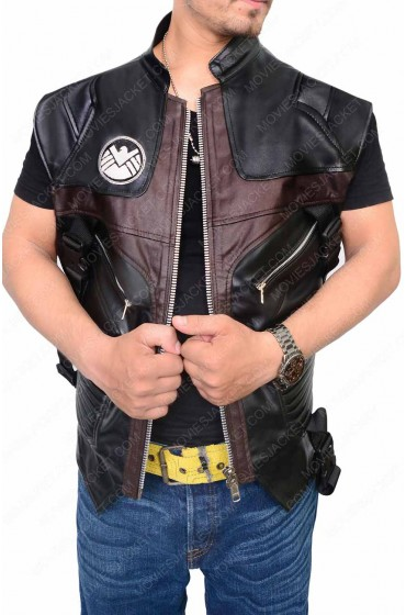 "Avengers Age of Ultron Movie Hawkeye Leather Vest ""Free T-Shirt"""