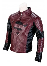 Black and Maroon Superman Smallville Leather Jacket