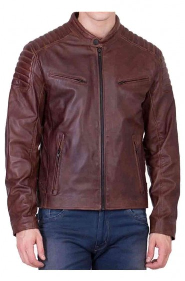 Men's Biker Brown Leather Padded Shoulder Jacket