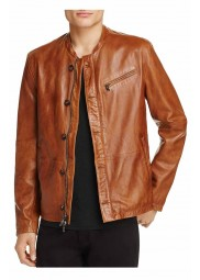 Brown Leather Moto Jacket Men