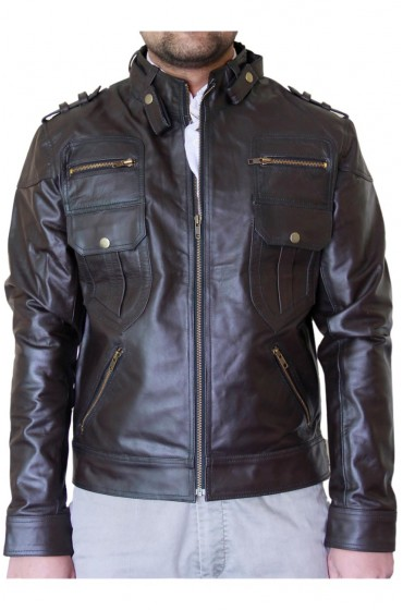 Dark Brown Biker Leather Jacket