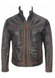 Four Pocket Vintage Fitted Leather Jacket