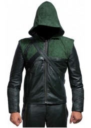 Stephen Amell Green Arrow Leather Hoodie