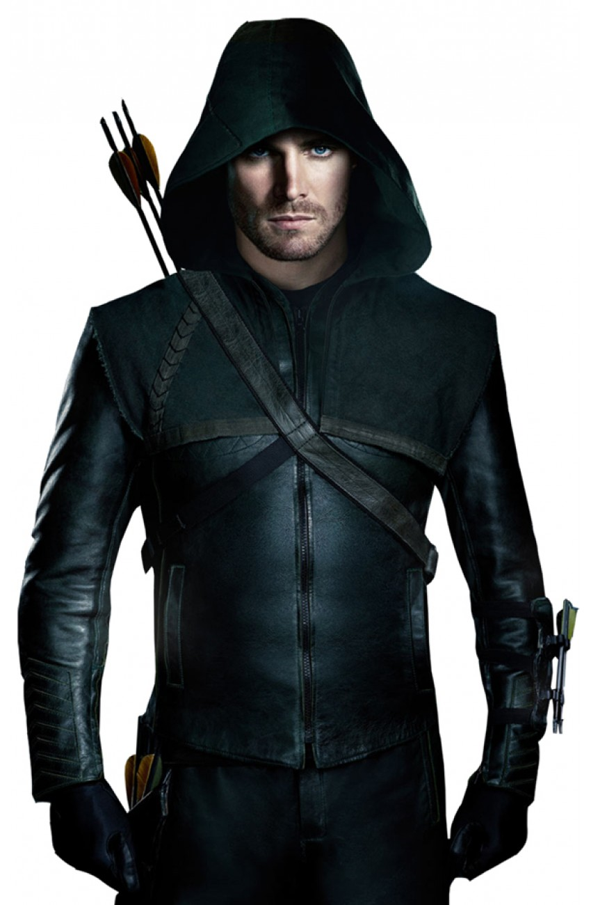 Leather jacket hoodie - Stephen Amell Green Arrow Leather Jacket Hoodie
