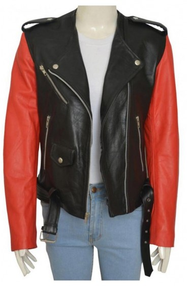 Hailey Baldwin Belted Collarless Leather Jacket