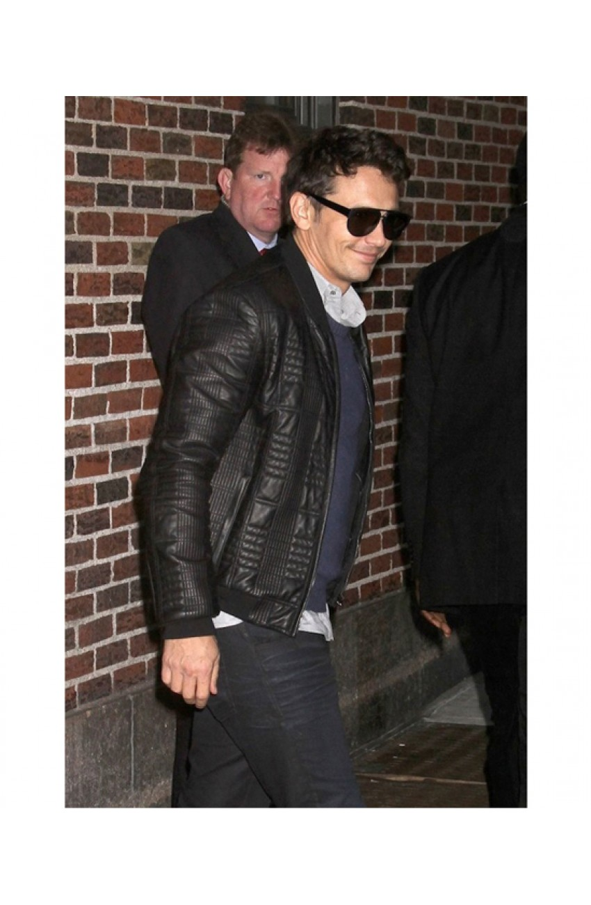 James Franco Quilted Jacket | Mens Black Leather Bomber Jacket