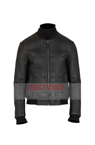 James Franco Quilted Black Leather Bomber Jacket