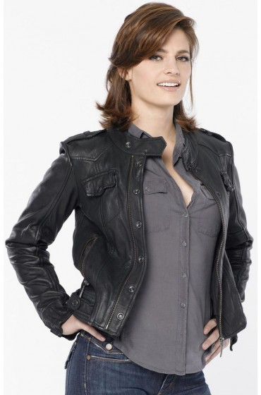Kate Beckett Castle Stana Katic Black Leather Jacket