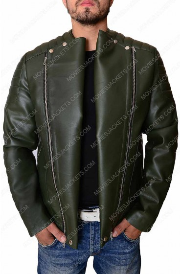 Kid Cudi Dark Green Quilted Leather Jacket