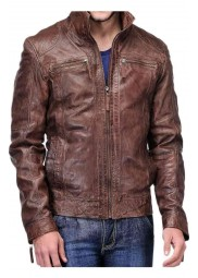 Men's Distressed Coffee Brown Jacket