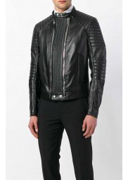 Mens Black Double Zip Leather Jacket