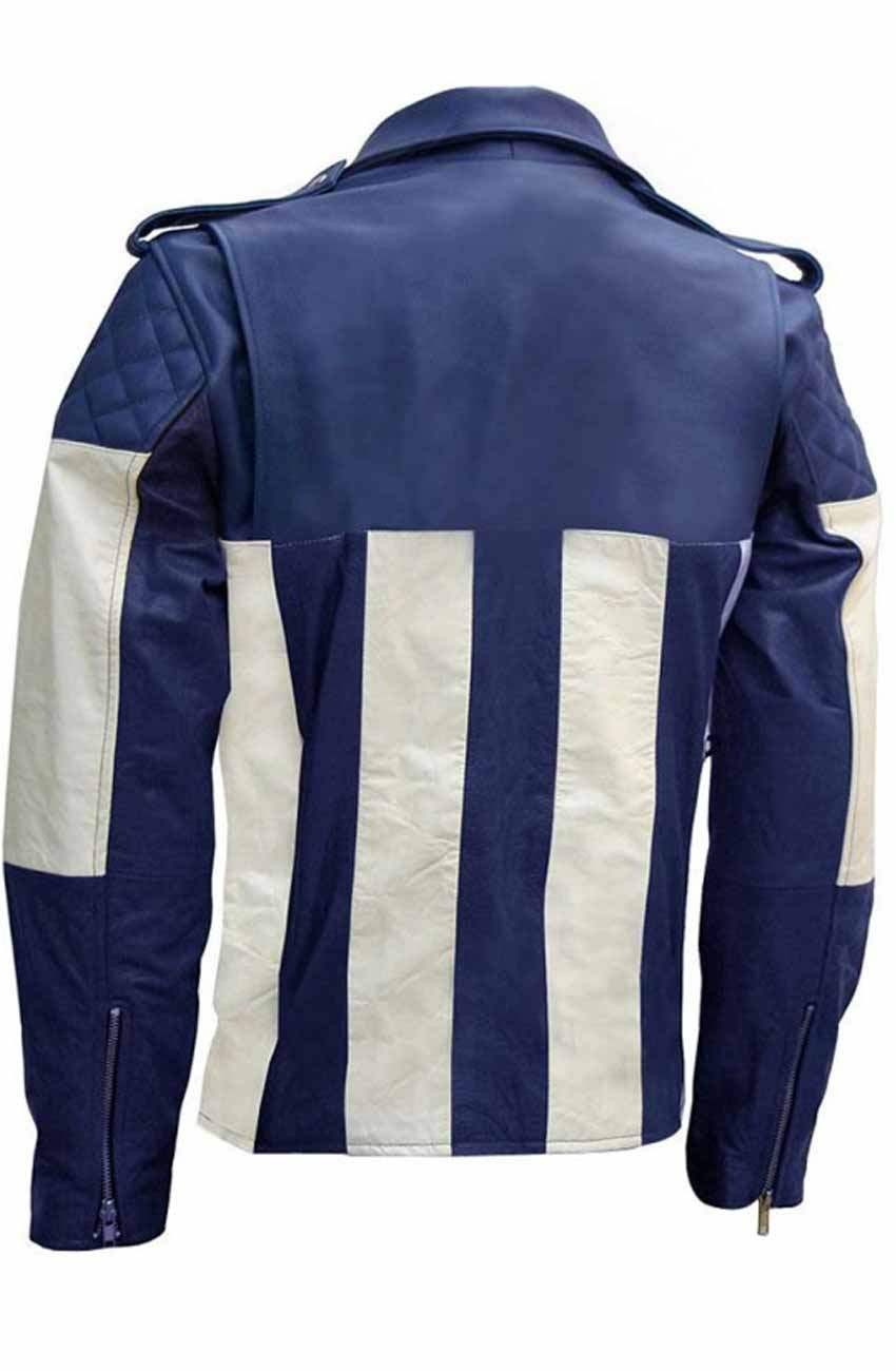 3a3c5d3e5 Blue And White Motorcycle Jacket | Asymmetrical Leather Style