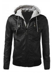 Mens Bomber Slim Fit Black Biker Jacket
