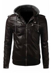 Mens Brown Slim Fit Bomber Jacket