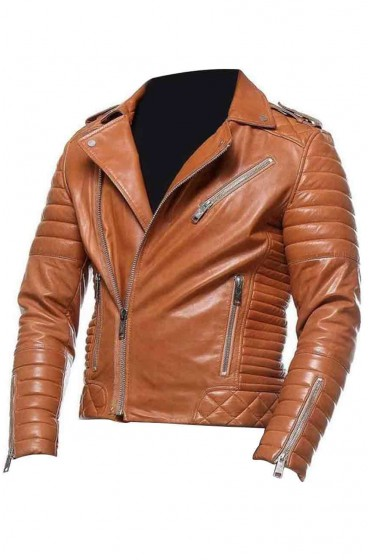 Mens Motorcycle Tan Leather Jacket