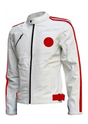 Mens Red Detailed White Cafe Racer Jacket