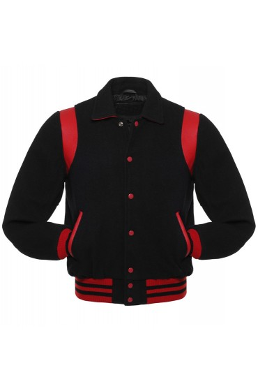 Men's Black Wool Varsity Jacket