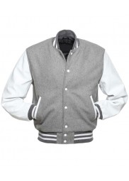 Men's Grey and White Varsity Jacket