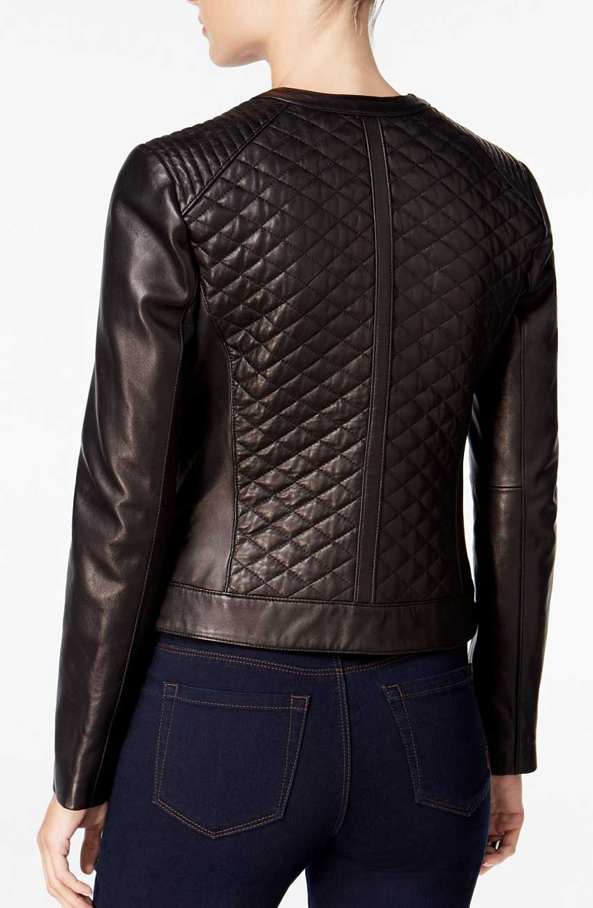 Faux Leather Women Quilted Bomber Jacket Movies Jacket