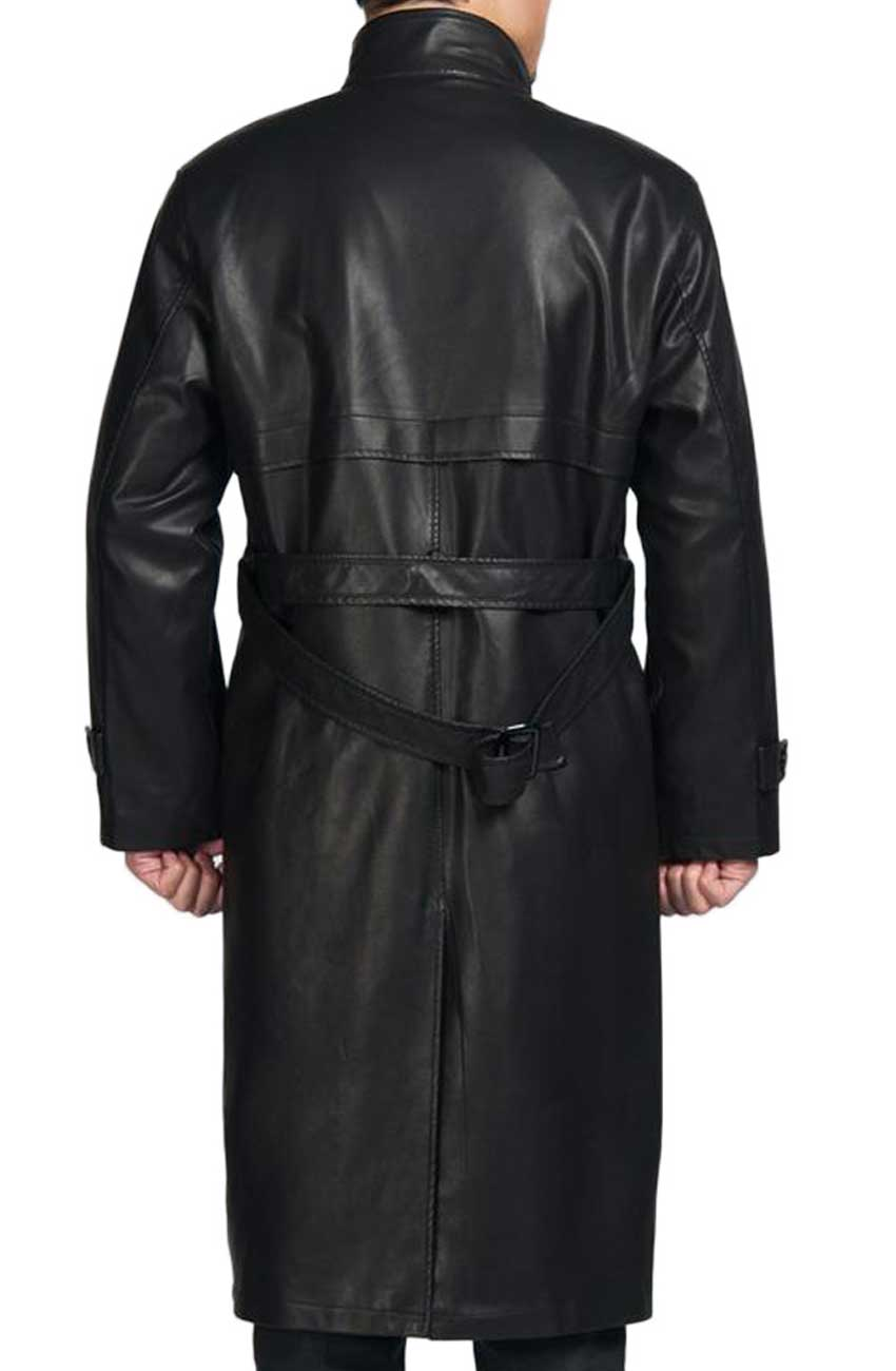 Mens Black Trench Coat Leather With Fur Collar Movies Jacket