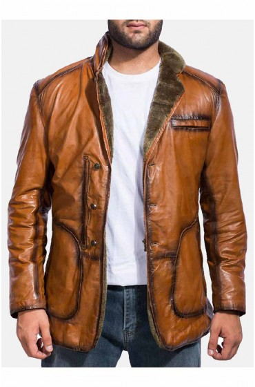 Rocky Brown Fur Leather Coat