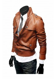 Slim Fit Brown Leather Jacket