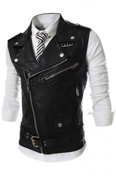 Slim Fit Mens Leather Vest