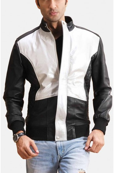 Spade Silver Mens Leather Bomber Jacket