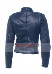 Charleston Tucker State of Affairs Blue Leather Quilted Jacket