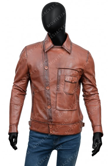 The Aviator Movie Howard Hughes Brown Leather Jacket