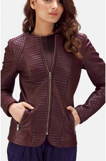 Women Leather Quilted Maroon Jacket - Movies Jacket-4618