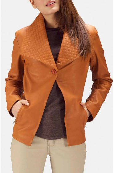 Women Tan Brown Blazer