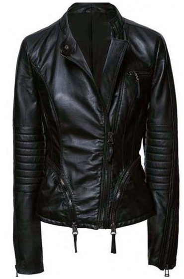 Womens Black Asymmetrical Jacket