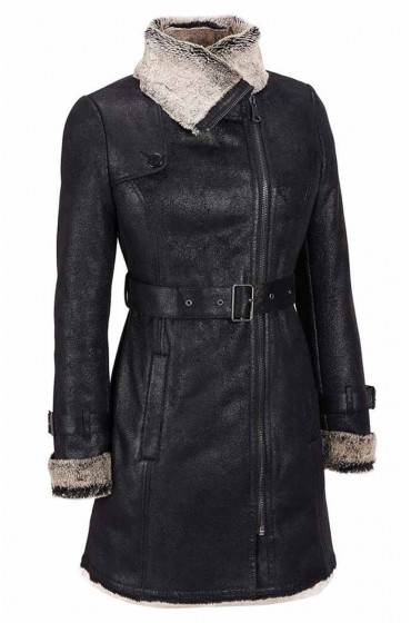 Womens Black Shearling Moto Short Trench Jacket