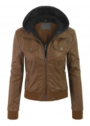 Womens Removable Hood Bomber Jacket