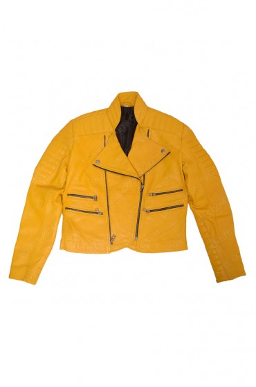 Yellow Womens Leather Motorcyle Jacket