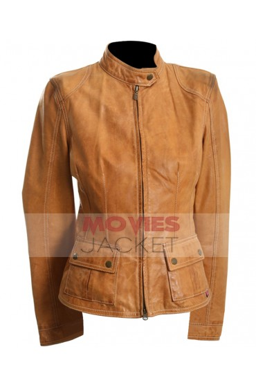 The Avengers Movie Scarlett Johansson Tan Leather Jacket