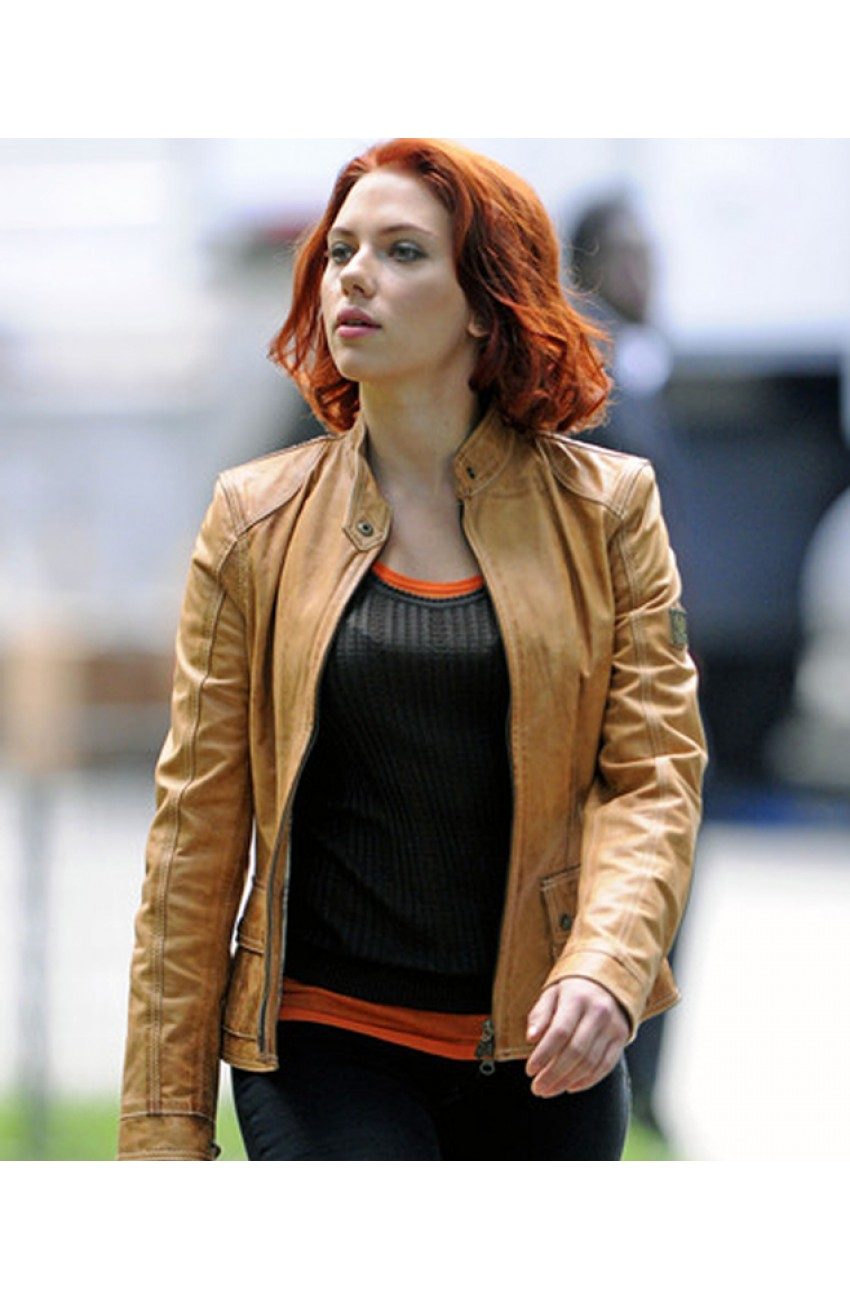 Tan Leather Jacket for Womens | Scarlett Johansson Jacket