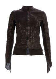 Affamee Black Alligator Leather Jacket