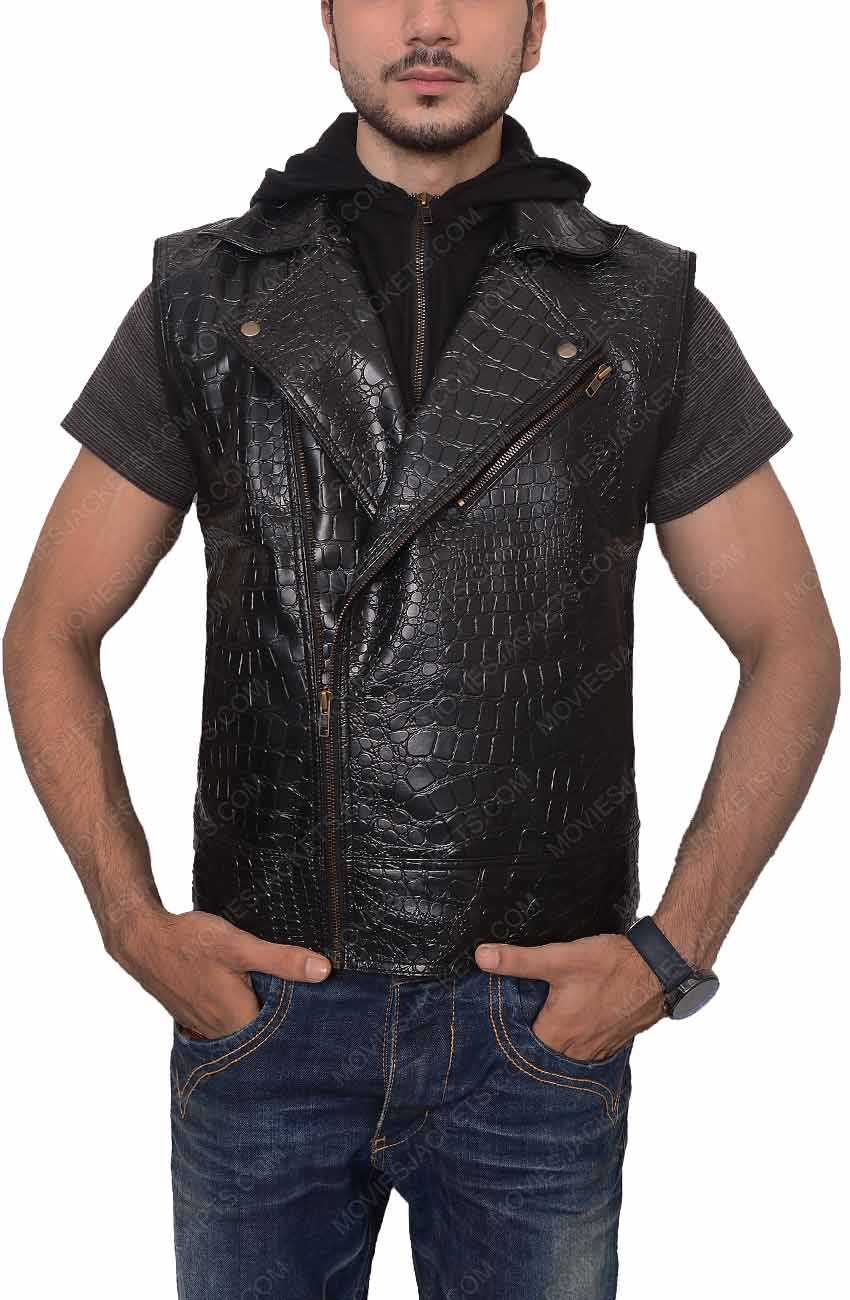 dcff1f0ae AJ Styles Leather Vest with Hoodie