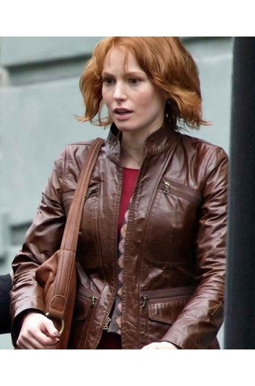 Alicia Witt Kim 88 Minutes Cummings Brown Leather Jacket